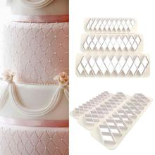 3 adet kare geometrik kesiciler fondan çerez geometri kek fondan kalıp kek dekorasyon araçları pişirme aksesuarları