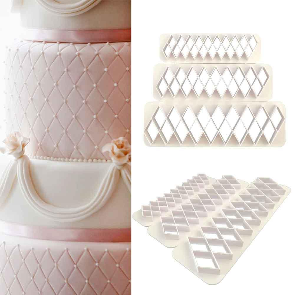 3Pcs Square Geometric Cutters Fondant Cookie Geometry Cake Fondant Mold Cake Decorating Tools Baking Accessories-in Cake Molds from Home & Garden