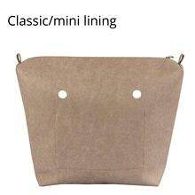 Mini bolsillo clásico de cuero PU con cremallera y forro interior impermeable, inserto de forro para bolsa O