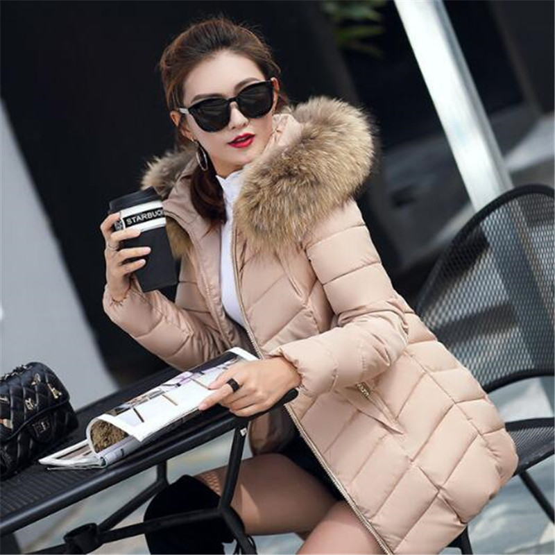 Hooded Fur Collar Winter   Down     Coat   Jacket Long Thick Warm Women Casaco Feminino Abrigos Mujer Invierno Student Wadded Parkas
