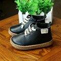 2016 botas de inverno shoes maré botas botas de couro criança menino meninas deslizamento único de pelúcia crianças shoes