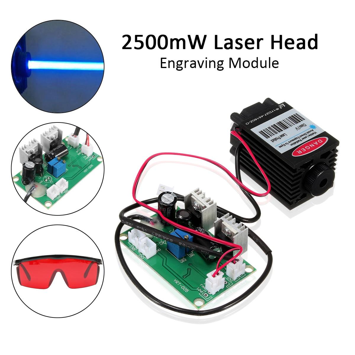 450nm 2500 mw Haute Puissance de Focalisation Laser Bleu Module TTL 12 v DIY CNC De Découpe Laser Graveur Accessoires 2.5 w + lunettes