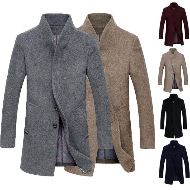 Incerun зима Тренч Для мужчин Модная Верхняя одежда ветровка из искусственной шерсти Slim Fit Бизнес длинная куртка Однотонная повседневная обувь...