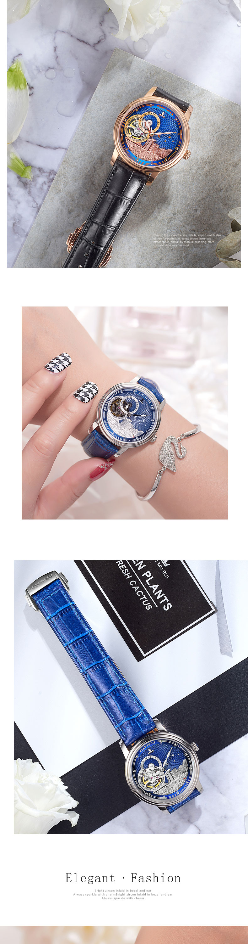 Reef Tiger/RT Blue Tourbillon Automatic Watch Luxury Fashion Watch for Women Men Unisex Watches 2019 New Clock Reloj RGA1739