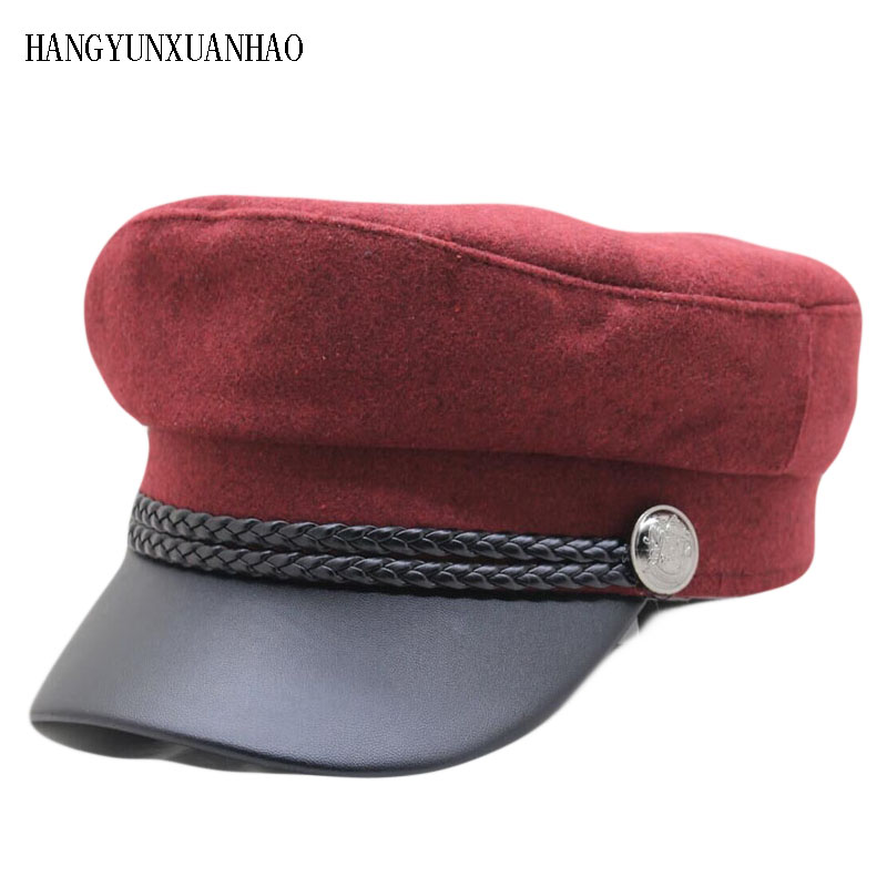 Winter Autumn Octagonal Hats for Women Flat Military Baseball Cap Ladies Solid Caps Women Casual Berets Hat Gorra Militar