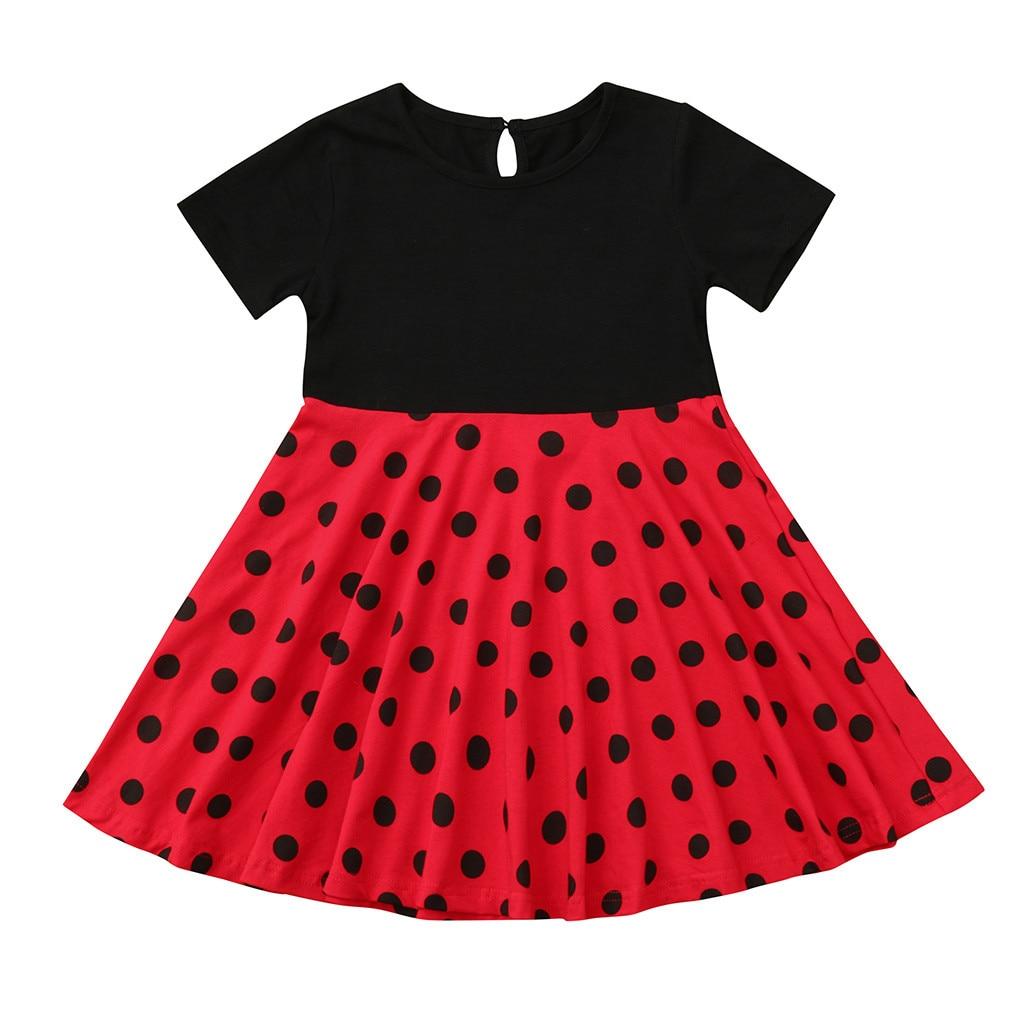 Kids Girl Vintage Dress Skirts Polka Dot Princess Swing Rockabilly Party Dresses