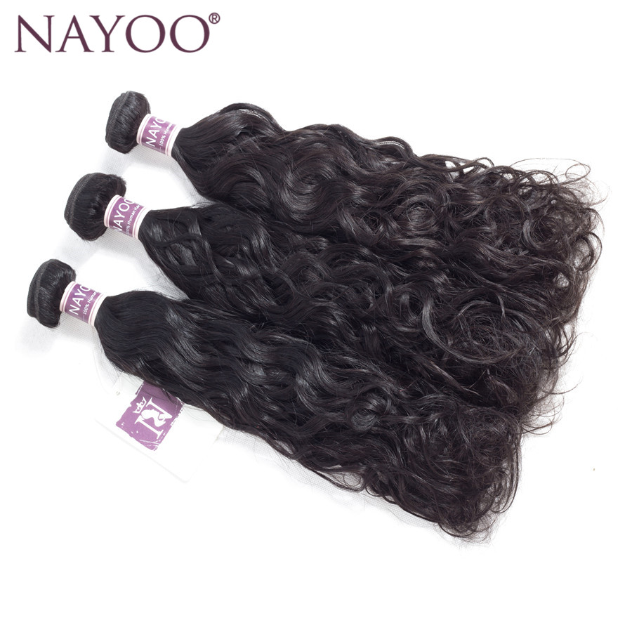 NAYOO 3 Bundles Malaysia Water Wave Human Hair Weaving Natural Color Non Remy Malaysia Hair Bundles 100g/Pc Double Weft