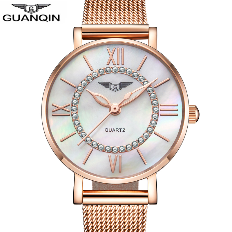 GUANQIN Brand Women Dress Watches Female Ladies Watches Gold Watch montre femme Women's Fashion Stainless Steel Bracelet watches deepshell full crystal diamond women stainless steel bracelet quartz gold watch female ladies dress wrist watches montre femme