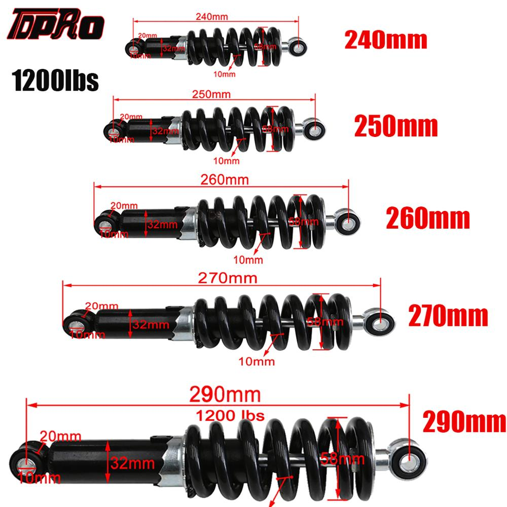 TDPRO Universal 240 250 260 270 290mm Motorcycle Shock Absorber Suspension Protection Rear Shocker Absorbers 1200LBS