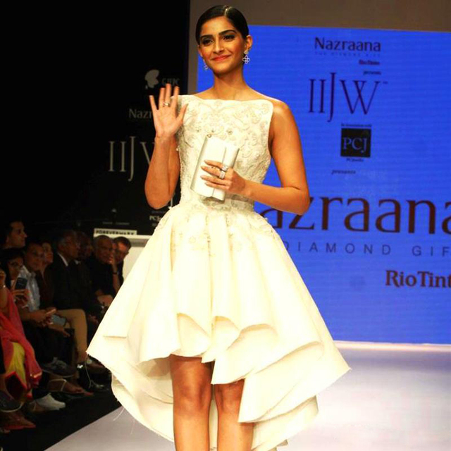 Bollywood Actress Sonam Kapoor Celebrity Gowns Asymmetrical Off ...
