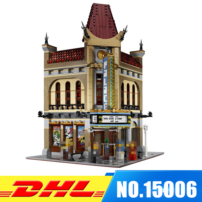 DHL Fast shipping 2354pcs LEPIN 15006 Palace Cinema Model Building Blocks Bricks Develop intelligence Toys Compatible With 10232 2016 new lepin 15006 2354pcs creator palace cinema model building blocks set bricks toys compatible 10232 brickgift