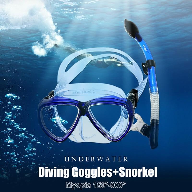 DIVE&SAIL Snorkel Mask Set Silicone Scuba Diving Mask Diving Snorkel Diving Goggles Myopia Lens For Optional Snorkel Set