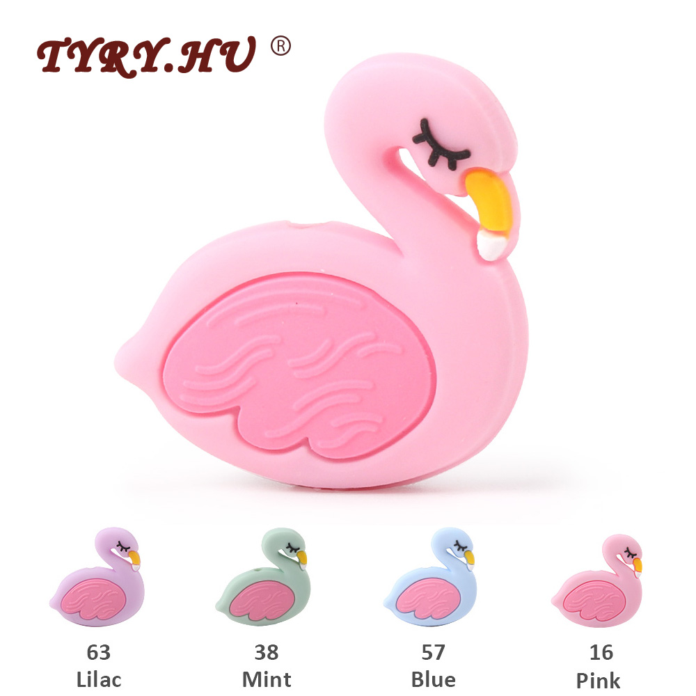 TYRY.HU 3pcs Free Shipping Flamingo Silicone Beads Food Grade Cartoon Baby Teether BPA Free Teething Toys DIY Pacifier Necklace