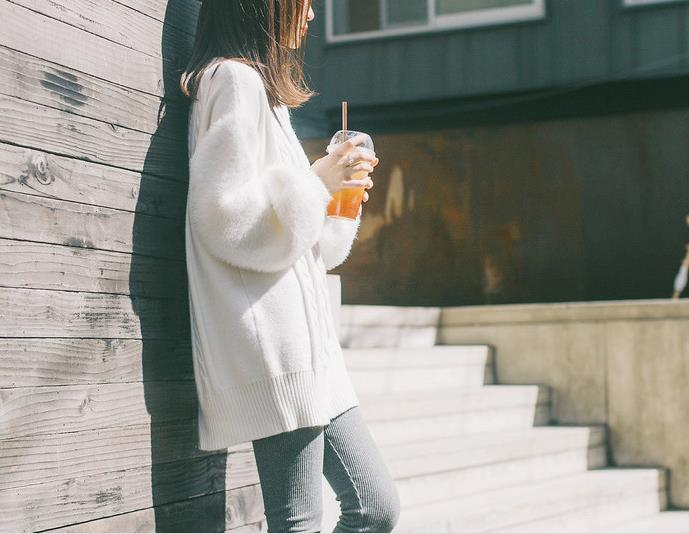 For Sweater Elegant Pure Women Qa293 Pattern Boyfriend Pullovers Fashion Outwear White Knitted Casual Female q6wc7Of