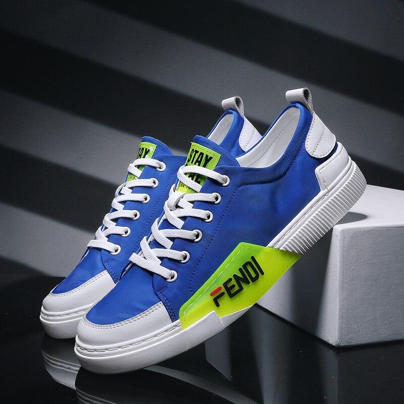 Populaire jeunes chaussures décontractées pour garçon en caoutchouc fonds trou baskets marque de luxe hommes en cuir baskets bleu jaune mode hommes chaussures