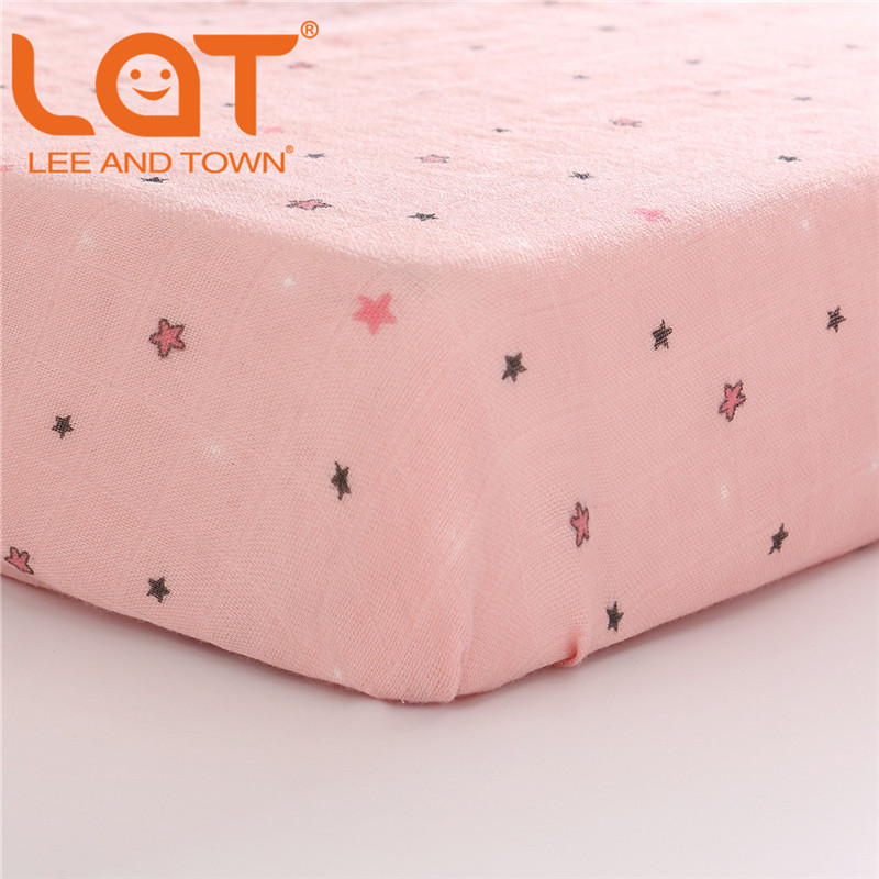 LAT 100% Cotton Crib Fitted Sheet Unicorn Soft Baby Bed Mattress Cover Protector Cartoon Newborn Bedding Of Cot Size 130*70cm