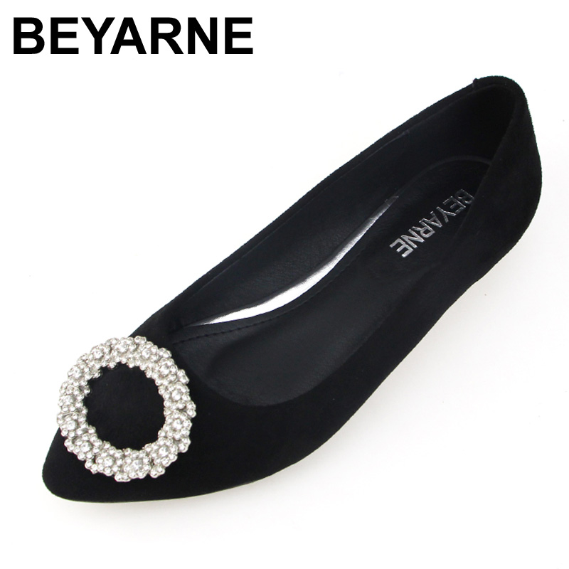 BEYARNE New Women   Suede     Leather   Flats Fashion Black High Quality Rhinestone Pointy Toe Ballerina Ballet Flat Slip On Shoes