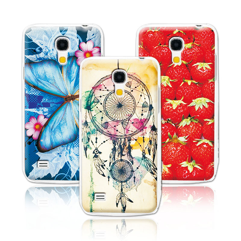 Women Girls Beautiful Floral Painting Case For Samsung Galaxy S4 MINI I9190Colorful Flowers Skin Back Cover +Free Pen Gift