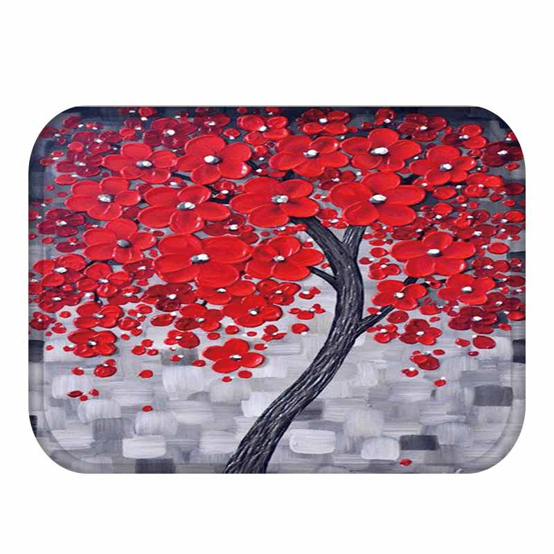 Cherry Blossom Area Rug Part - 47: 40*60cm Modern Red Oil Painting Tree Design Rug Coral Fleece Fabric Rugs  Carpet For