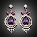 New designer banhado a ouro Roxo cristal austríaco strass casamento brincos grandes para mulheres brincos ouro jóias indiano orecchini