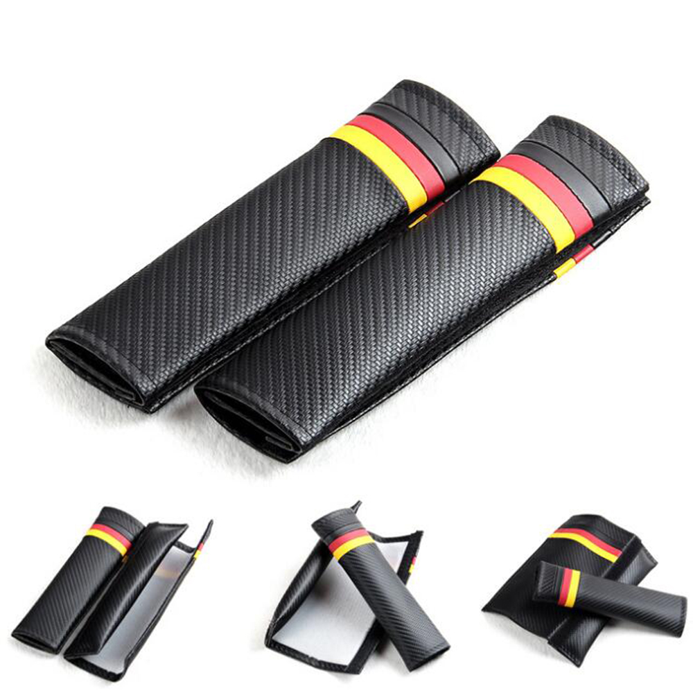 Car styling Seat Belt Shoulder Pad Carbon Fiber PU Leather German flag For Volkswagen Skoda Golf 4 5 6 7 Polo Passta B5 b6 GTI