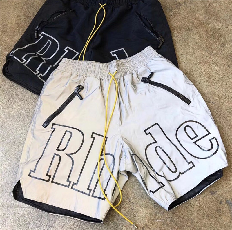 19ss Latest TOP Hiphop Kanye West Rhude X Patron Men Women Streetwear With 3M Reflective Drawstring Shorts Fashion Cotton S-XL