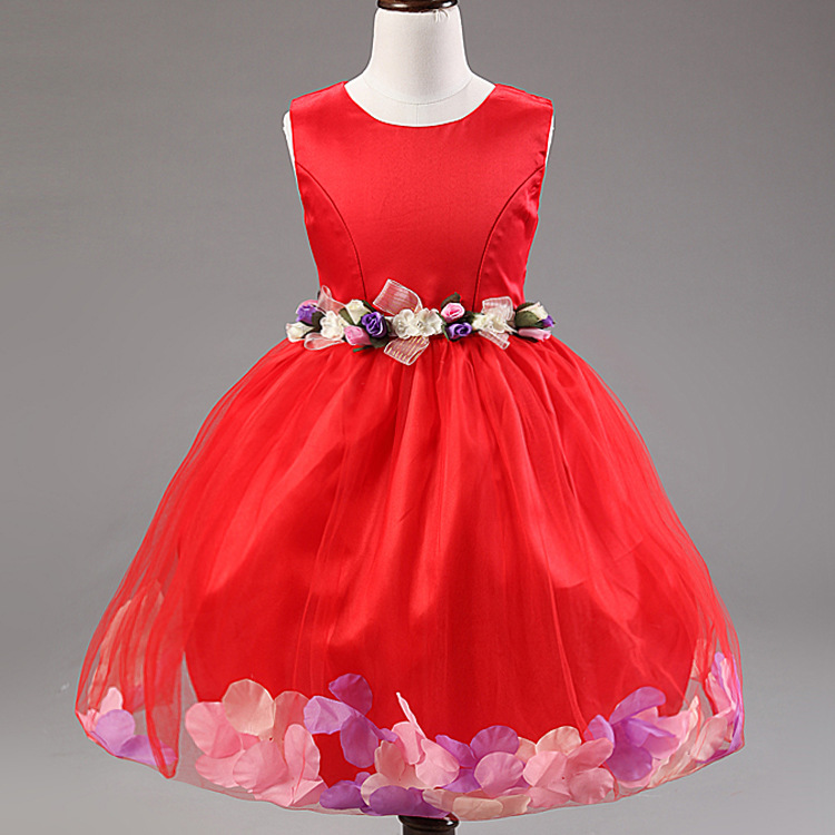 Europe And The United States Baby Girls Dress Sleeveless A-line O-neck Flower Girls Dresses Petals Red/Pink Girl Birthday Dress europe and the united states popular bar chairs wholesale and retail australian fashion coffee stool free shipping