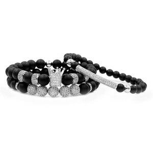 Image 3 - Mężczyźni bransoletka 3 sztuk/zestaw Uxury moda korona Charm bransoletka z kamienia naturalnego dla kobiet i mężczyzn Pulseras Masculina dla kobiet bransoletki