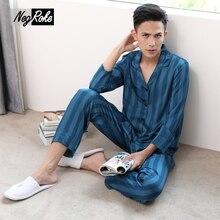 Летние шелковые атлас синий в полоску Модные мужские пижамы наборы просто случайный с длинными рукавами уютный мужской пижамы Pijamas Hombres corto