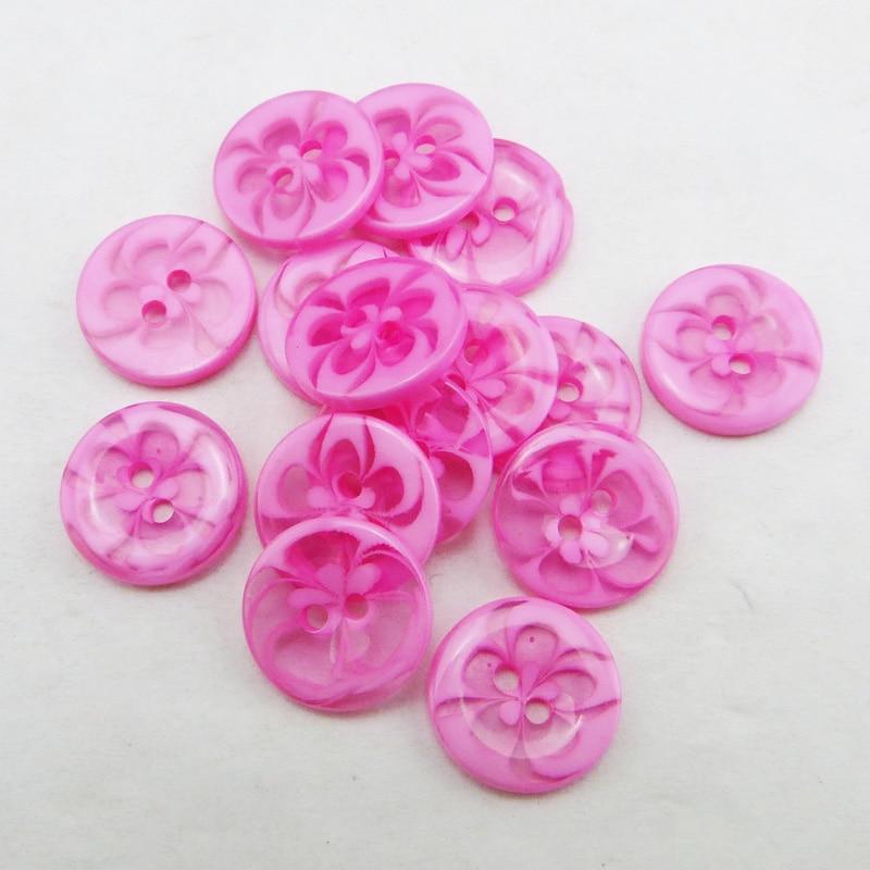 100 шт 13,5 мм разные прозрачные Цветы Форма окрашенная Смола пуговицы пальто сапоги швейная одежда аксессуары украшения пуговицы R-135-1 - Цвет: Pink