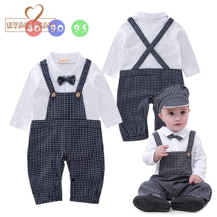 Nyan Cat Baby boy suits gentleman clothes plaid Jumpsuit+Hat  Infant toddler Boys costume party wedidng Outfits Baby Clothing cute baby infant high qualit toddler chef cotton costume 3 piece clothes hat white top plaid pants for newborn boys suits hot