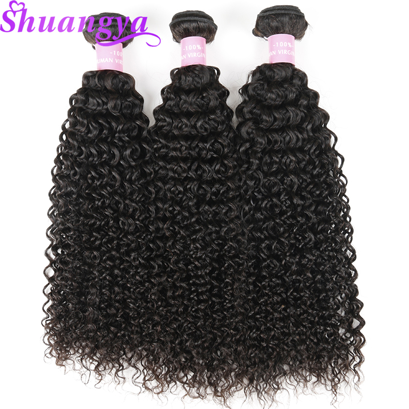 Malaysian Kinky Curly Human Hair Bundles 100% Remy Hair 3 Bundles Hair Weave Extensions 10-28 inch Natural Color Hair Weaves