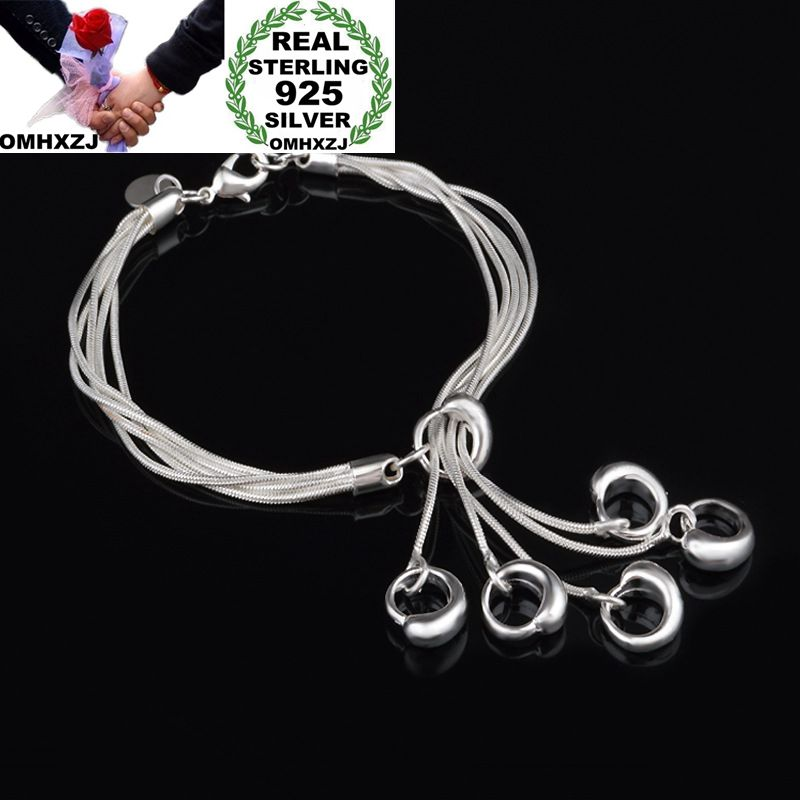 31d2480bbc1 OMHXZJ Wholesale Personality Fashion Woman Girl Gift Silver Multi Lines  Hollow Tai Chi Charm 925 Sterling