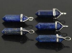 10 шт./лот, натуральный Лазурит, камни, шестигранные кулоны, рейки, ожерелье «чакра», серьги, кулон, ювелирное изделие