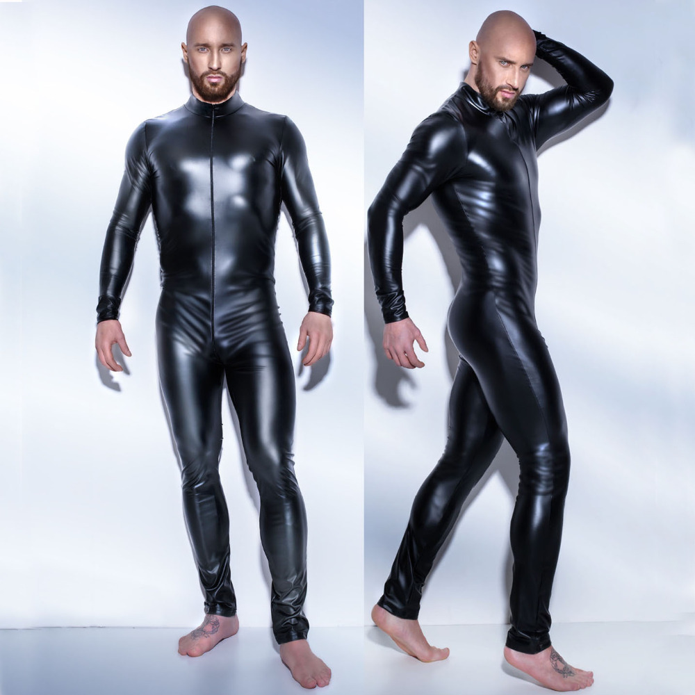 7065476fb5 2017 Plus Size M-3XL dos homens Sexy Látex Catsuit Wetlook Preto Full Body  Suits