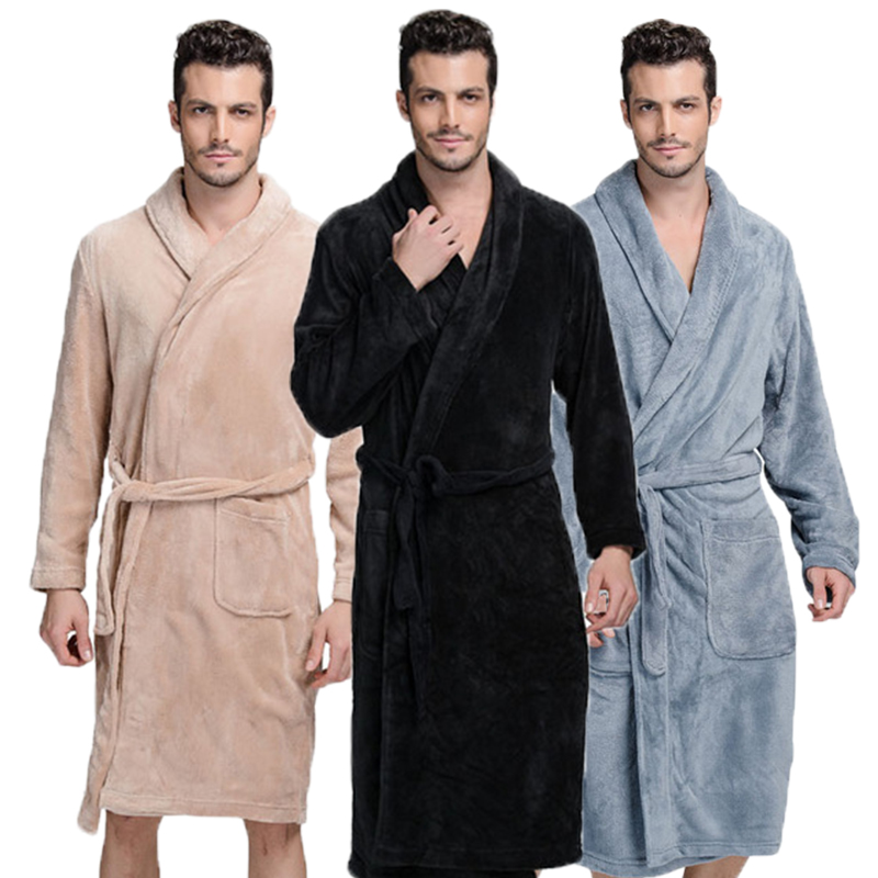 Bathrobe Men Winter Thick Flannel Robe Men Male Long Coral Fleece Bathrobe Man Plus Size XXL Pajamas Sleepwear Kimono Robe