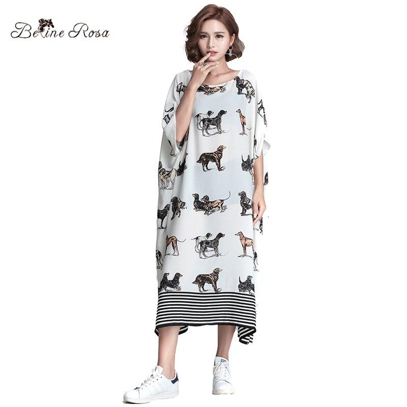 BelineRosa 2017 Femmes de Plus La Taille Robes Grande Taille Vêtements Pour Femmes Mode Européenne Lâche Longue Mousseline de Soie Impression Dresse HS000360