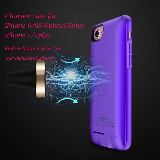 Caso carregador para iphone 6 6 s 6 plus quente 7 7 plus íman incorporado Fina Backshell carga sem fio caso a energia Da Bateria Externa banco