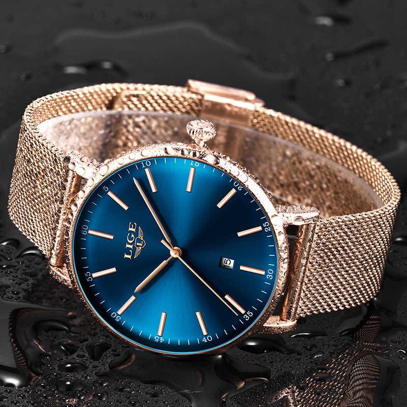 LIGE femmes montres Top marque de luxe dames maille ceinture Ultra-mince montre en acier inoxydable étanche horloge Quartz montre Reloj Mujer