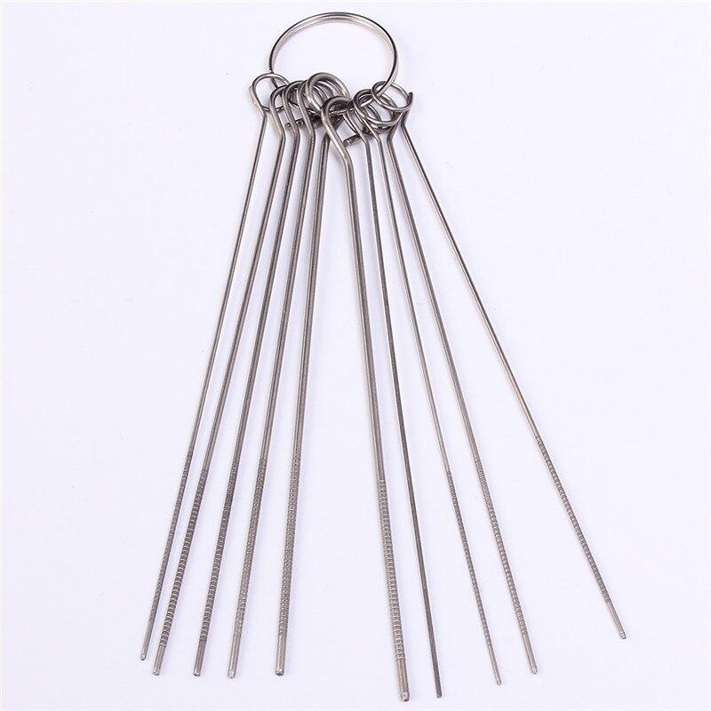10 видов нержавеющей стали набор игл PCB электронная схема через игла с ушком Распайка инструмент для ремонта 80 мм 0,7-1,3 мм