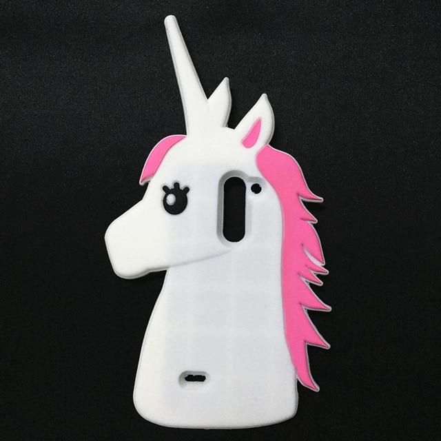 Moda 3D Lindo de la Historieta Unicornio Suave Silicona Caso de Goma Para LG G3 Stylus D690 D690N Caja Caballo Blanco