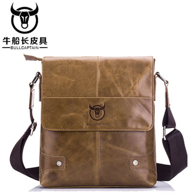 BULLCAPTAIN Men briefcase Bag Genuine Leather Man Crossbody Shoulder Bag  Small Business Bags Male Messenger Leather Bags 3 color 1f0706bd55eba