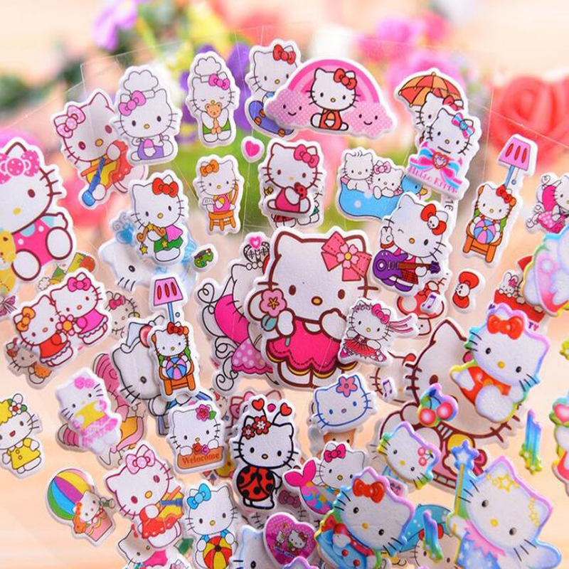 Creative Classic Animated Character And Hello Kitty Etc. Stereoscopic Children's  Stickers Stationery Sticker