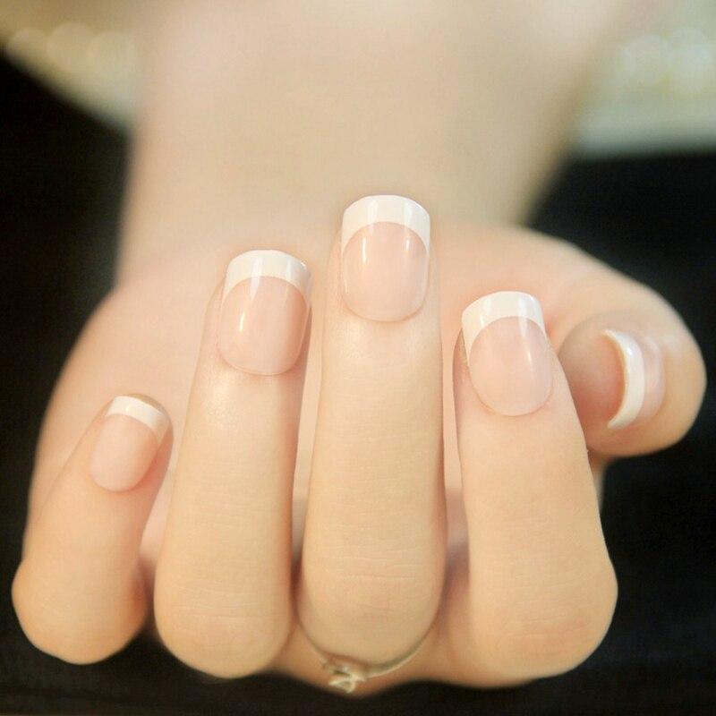 Natural French Fake Nails Tips Flat Top False Nails Short Size Artificial Nail Diy Nail Art Faux