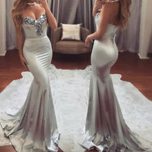 New Sexy Women Formal Prom Elegant Clothing Fish tail Dress Strapless Evening Slim Party Sequins Long Maxi