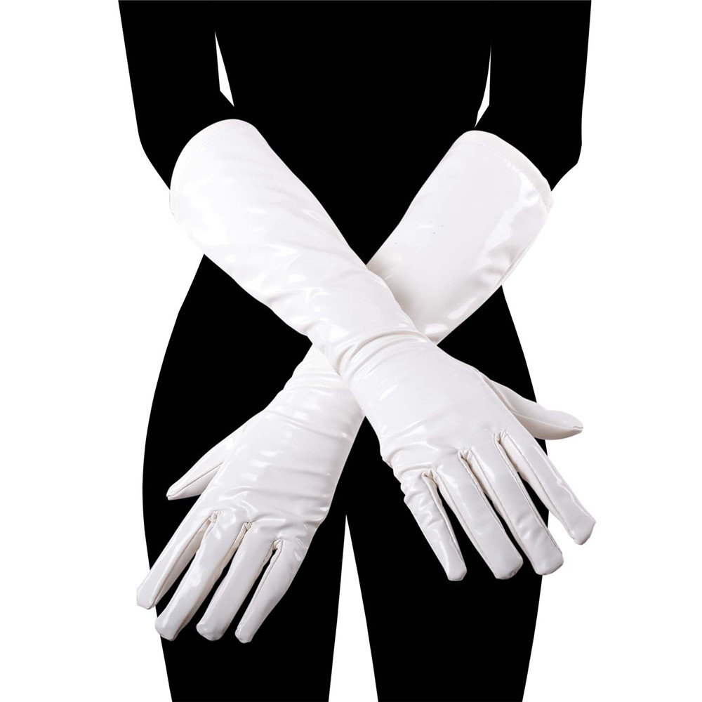 Women's Faux Leather Long Gloves Sexy Queen Wet Look Party Gloves Eblow Length Flapper Clubwear Evening Dress Accessories