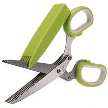 Лидер продаж офисные Бумага вырезать измельчения Ножницы Нержавеющаясталь 5 blade травы Ножницы Кухня Инструмент Зеленый