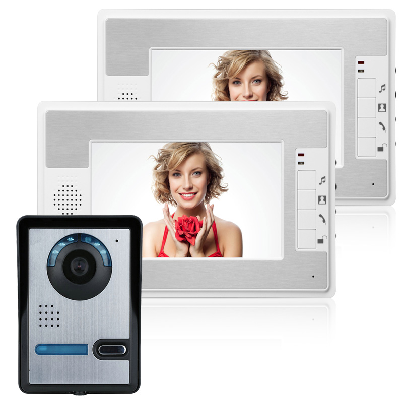 2 White Monitors 7 Inch Video Door Phone Doorbell Intercom Kit 1-camera 2-monitor Night Vision