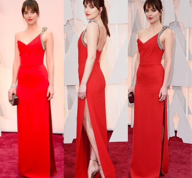 Shades of Grey Dakota Johnson Elegant One-shoulder Red Chiffon Celebrity  Dress Split A Line Oscar Red Carpet Evening Party Gowns df58a3e1611c