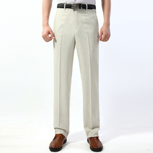 Men's Suit Pants New Arrivals Linen Summer Suit Pants Business Casual Thin Suit Pants Flat Straight Trousers High Quality